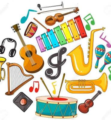 Different types of musical instruments illustration